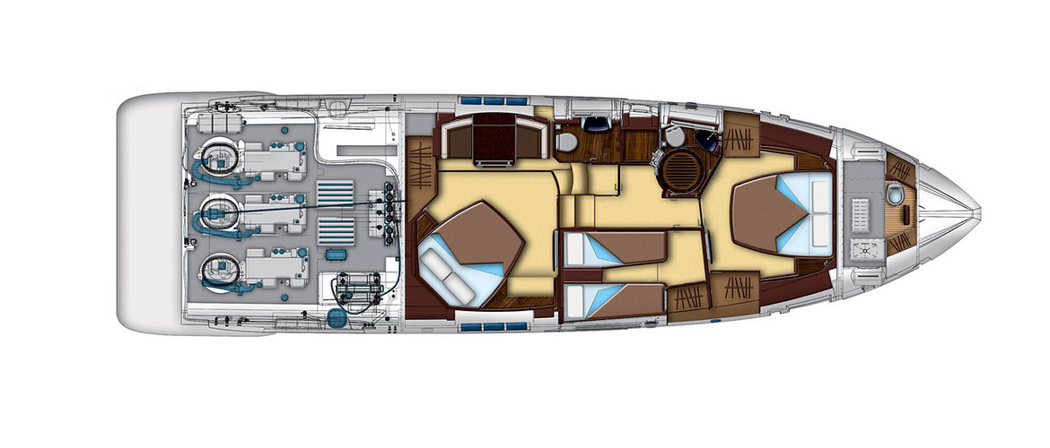 Lower deck (shows the location of the engine) Azimut 55S