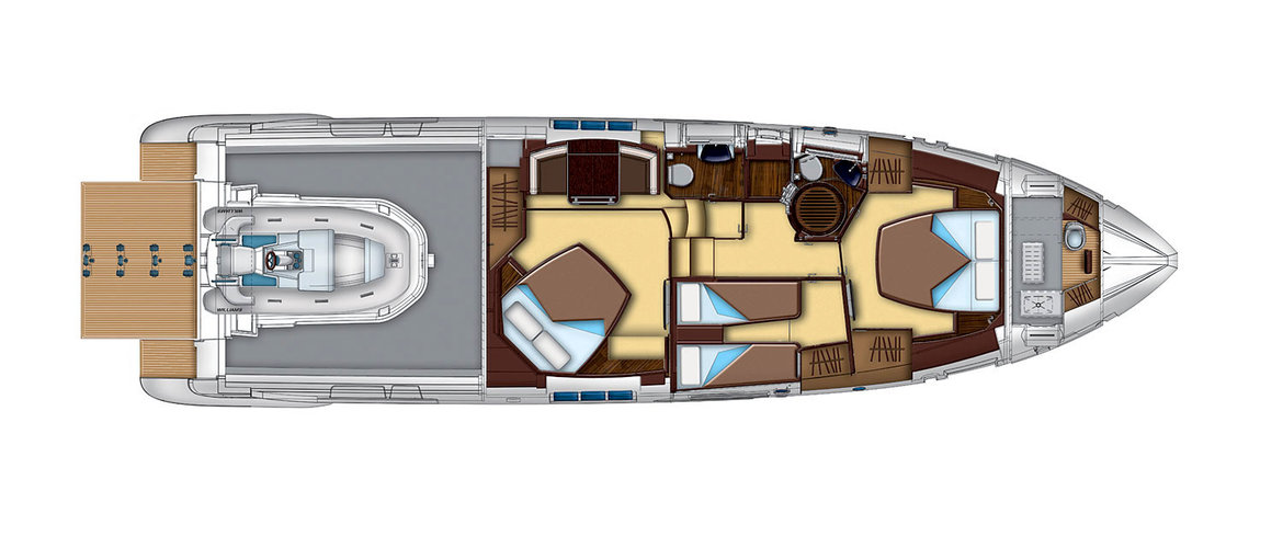 Lower deck (the garage) Azimut 55S